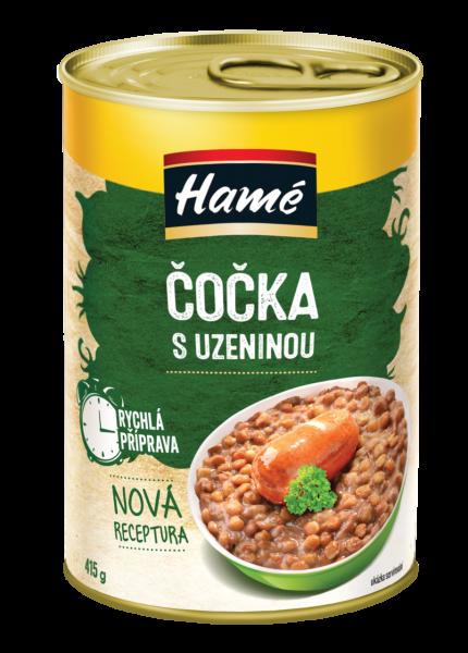 Hamé Čočka s uzeninou hotové jídlo - Linsen mit Bratwurst