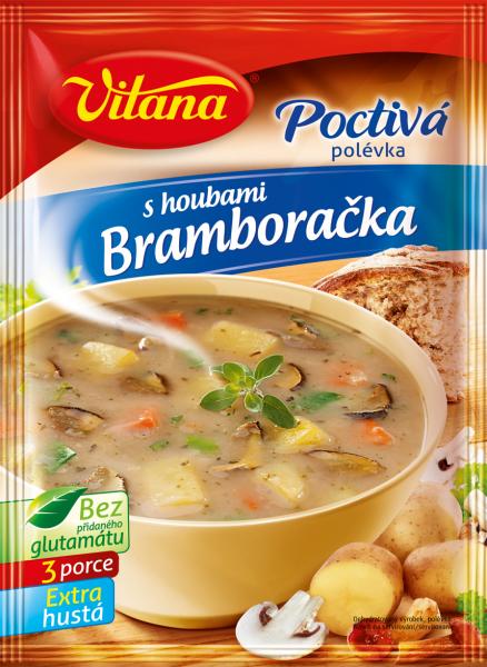 Poctivá polévka bramborová s houbami - Kartoffelsuppe mit Pilzen