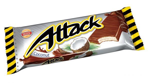 Attack Oplatka kokosová - mit Kokos in Milch-Kakao-Glasur