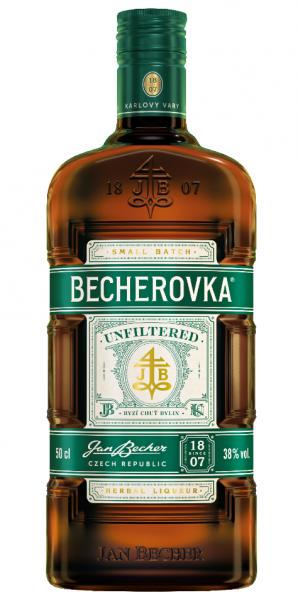 Becherovka Unfiltered 38% bylinný likér - Ungefilterter Kräuterlikör